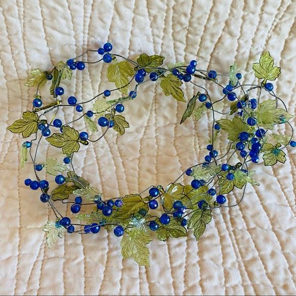 Vintage handmade beaded garland blueberries leaves